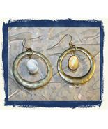 VTG 80s Hammered Silver Tone Circles Dangle/Drop Modernist Loop Pierced ... - $6.99