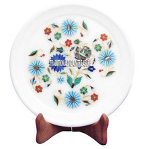 """7"""" Marble  Plate Round Turquoise Inlay Mosaic Kitchen Ramadan Exclusive ... - $94.01"""