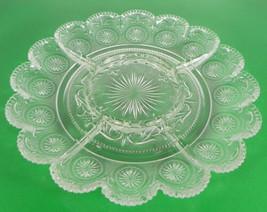 Brockway American Concord Clear 5-Part Relish Dish Sandwich Glass Scrolls - $24.70