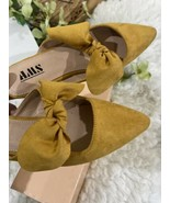 Mustard Ribbon Mules Faux Suede - $18.81
