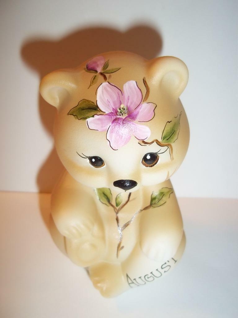 Fenton Glass August Birthday Magnolia Sitting BEAR Figurine GSE K Barley #18