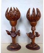 Lotus Lamp Bases  Pair  Hand Carved  Walnut Wood  Mid-Century Kashmir India - $655.00