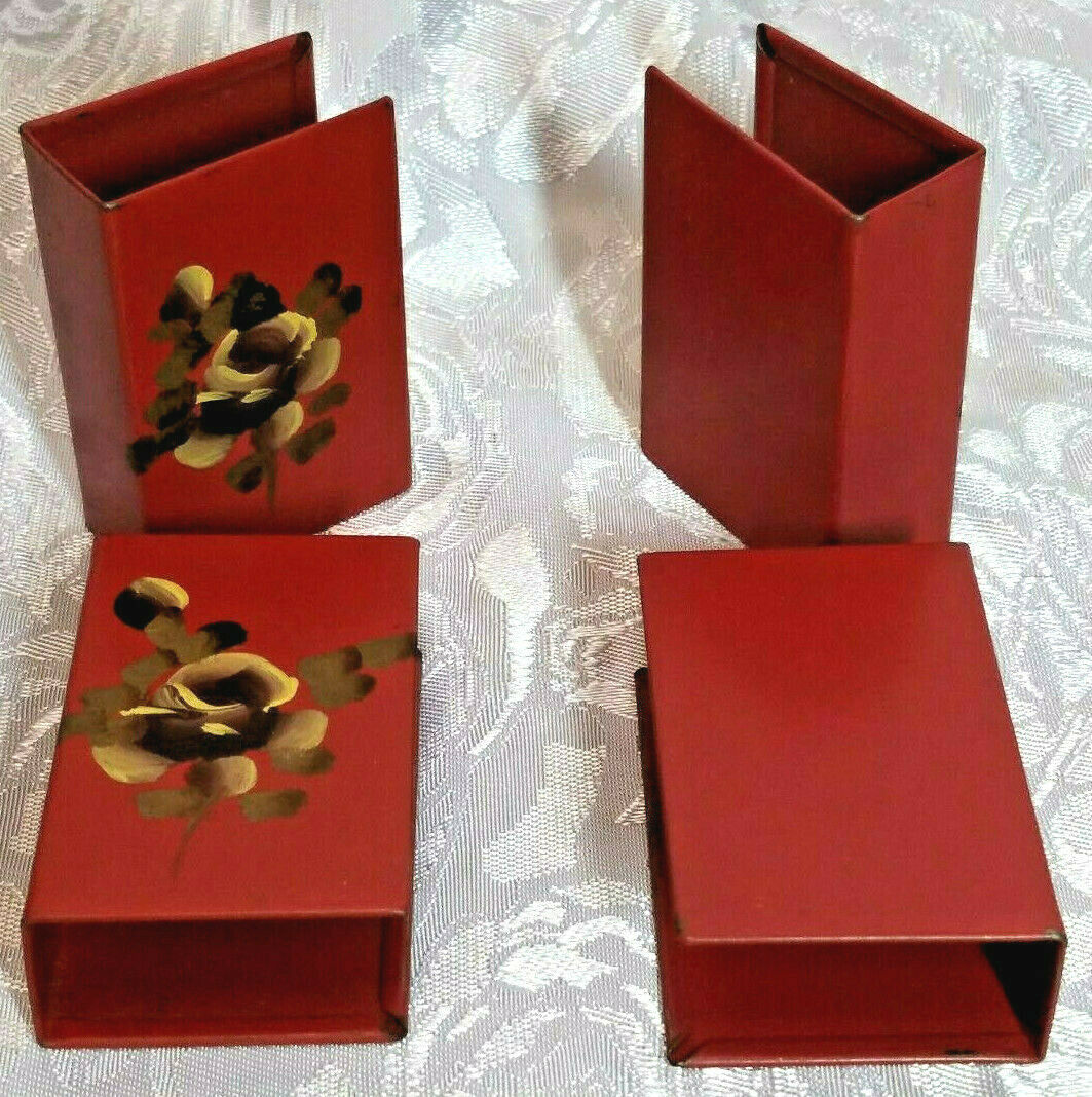 ANTIQUE SET OF FOUR HAND PAINTED MATCH COVERS NASHCO YELLOW FLOWERS ON BURGUNDY