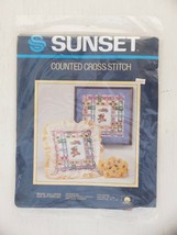 Vintage Sunset Bears Balloons And Butterflies Counted Cross Stitch Kit - $9.99