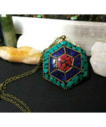 Necklace, Pendant from Nepal With Turquoise, Lapis, and Coral Natural Stone - $23.76