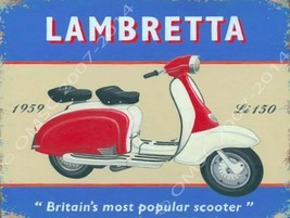 Lambretta Scootering Motorbike Scooter Metal Sign - $19.95