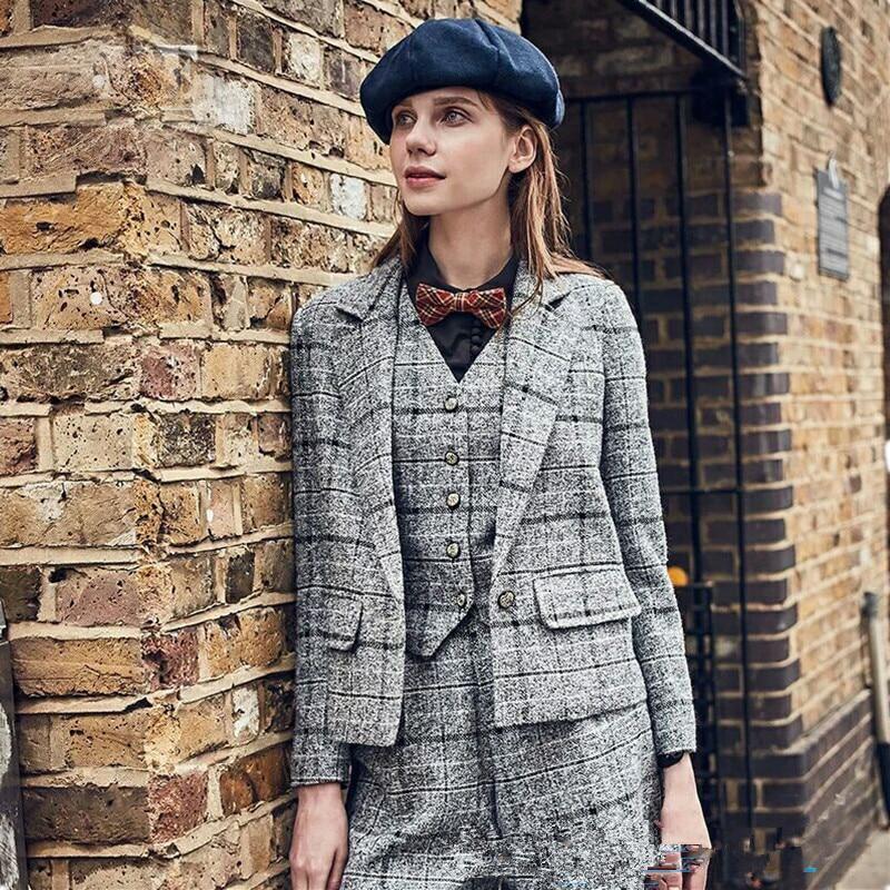 Uits ladies fashion office business tuxedos suits jacket pants vest custom female office unfiorm