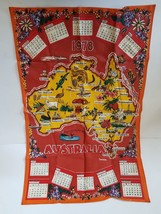 Linen Towel 1978 Collectible Calendar Map of Australia - $7.46