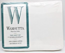 Wamsutta TWIN Sheet Set IVORY 100% Combed Cotton 220 Thread Count NEW In... - $48.19