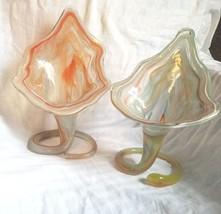 Set 2 MCM Sooner GLASS SWIRLS FREEFORM BOWLS Art Deco Vase Colorful Bright - $23.99