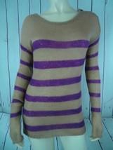 Ann Taylor Loft Sweater S Pullover Acrylic Nylon Mohair Magenta Tan Stripe Sheer - $38.81