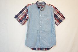 Tommy Hilfiger Plaid Denim Short Sleeve Button-Front Shirt, Boy's XL 05778 - $12.22