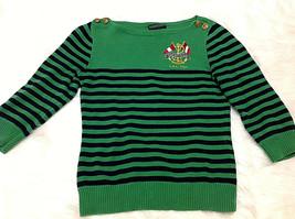 Ralph Lauren Vintage Womens S Green Navy Sweater Shoulder Button Nautica... - $19.79