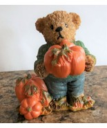 1999 Home Interior Thank You Teddy Bear Boy with Pumpkins Homco Autumn H... - $7.91