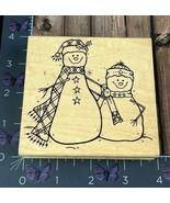 Great Impressions Snow Buddies Snowmen Rubber Stamp J37 Winter Pair Wood... - $6.44