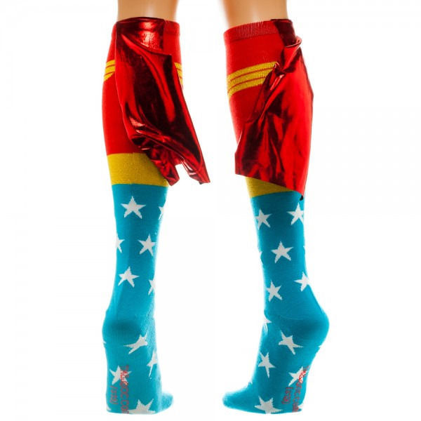 Wonder Woman Logo Red, Blue and Gold Knee High Derby Socks with Shiny Cape NEW