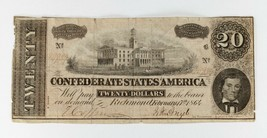 1864 Seventh Series 20 Dollar Confederate Note in Good Condition - $49.50