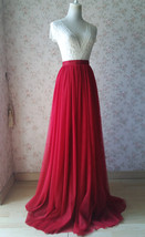 RED Tall Maxi Tulle Skirt Women Extra Long Tulle Skirt Red Bridesmaid Outfit 51""