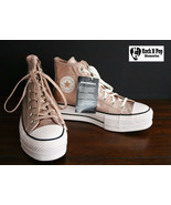 Converse Womens CTAS Lift Hi Leather 562773C Particle Beige/White NWB - £38.15 GBP