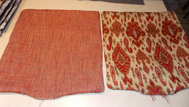 Pair of Red Gold Decorative Print Throw Pillows  20 x 20 - $49.95