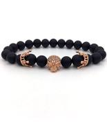 NAIQUBE 2017 New Trendy Men Bracelet Skull Gray Stone Beads Crown Bracel... - $16.59