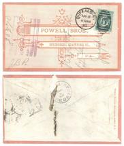 1890 Buffalo NY Springboro PA Powell Bros Advertising Cover Iron Cross B... - $14.84