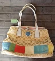 Coach Signature Handbag Multicolor Stripe Leather Canvas Satchel Purse - ₹6,409.43 INR