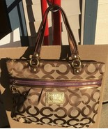 COACH Poppy Large Op Art 15331 Brown Canvas Tote - $79.00