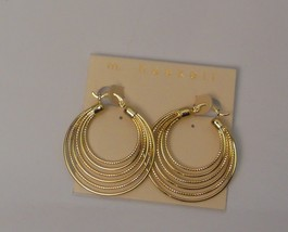 Women's 6-Ring Hoop Earrings Leverback Fasteners Gold Tones FASHION M HASKELL - $16.97