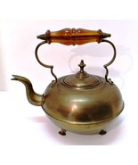 Antique Brass Footed Kettle with Lid & Amber Glass Handle Vintage Decor - $23.76