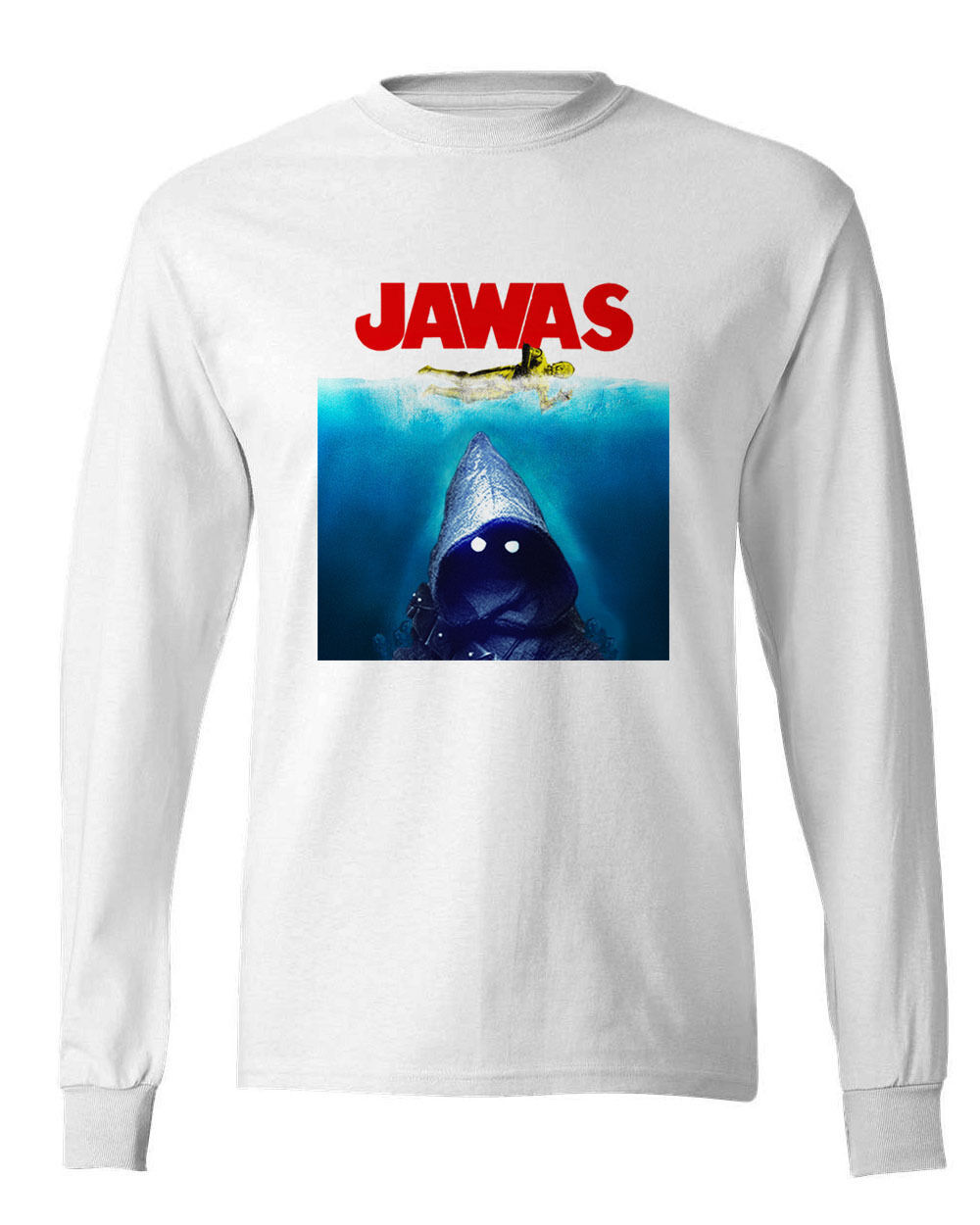 JAWAS Star Wars long sleeve T-shirt C3PO JAWS retro 70s parody100% cotton