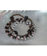 Gently Used Lot of 3 Hematite Pink Clear Glass Bronze Plastic Bead Stret... - $8.59