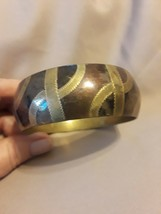 Vintage Multicolored bronze and brass wide bangle - $28.50