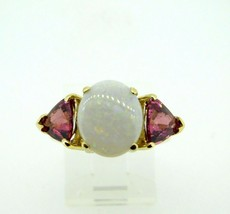 14k Yellow Gold Genuine Natural Opal and Pink Tourmaline Ring (#J4417) - $2,150.00