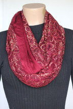 NEW Collection 18 Eighteen Women's Neck Infinity Scarf Deep Red Gold 13x36 - $10.88