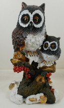 "Resin Owl Figurine Mama Baby Perched on Tree 7"" - $18.80"