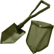 Olive Drab Tri-Fold Emergency Compact Military Shovel with Cover - $19.87 CAD