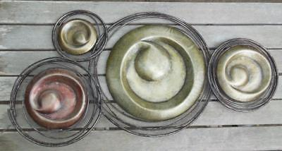 Vintage Metal Wall Hanging Circles and Spirals  28 x 14""