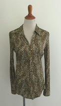 Vintage Equipment M Medium Silk Shirt ANimal Print Button Front - $49.49