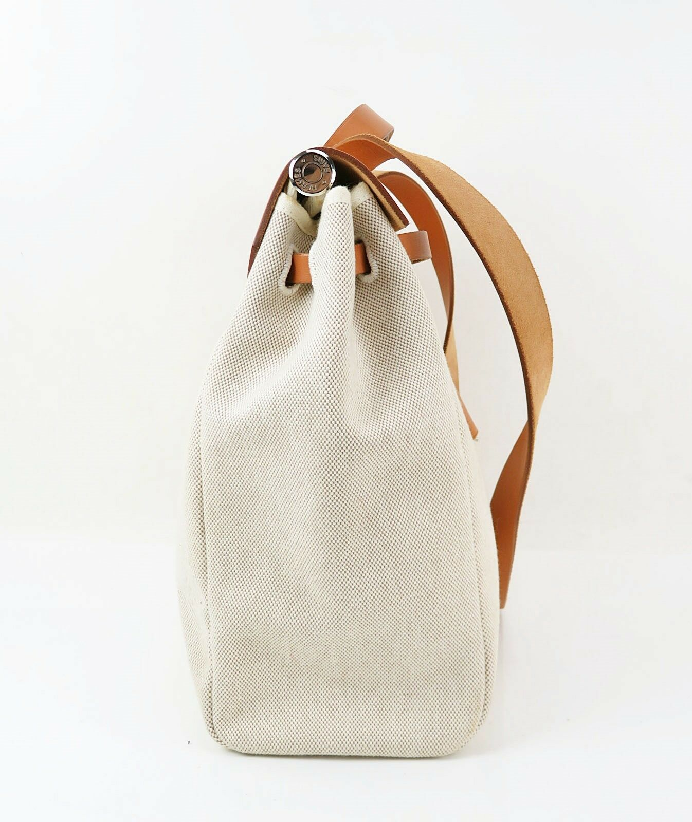 Auth HERMES Her Bag 2 in 1 Beige Canvas and Leather Hand Shoulder Bag #31320 image 5