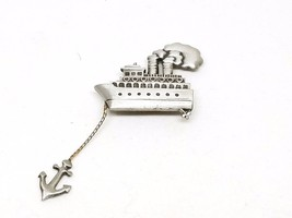 Great Pewter Steamship with anchor vintage Pin - $13.19