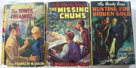 Hardy Boys 3 LOT 1950's Yellow Spine DJ hardcovers nos. 1, 4, & 5 Frankl... - $24.00