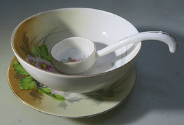 Vintage Nippon Hand Painted 3 Feet Soup Bowl Flowers gilded edge Ladle & Saucer - $35.00