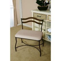 Modern Wide Metal Vanity Stool Bench Padded Seat Burnished Bronze Ivory ... - $59.90