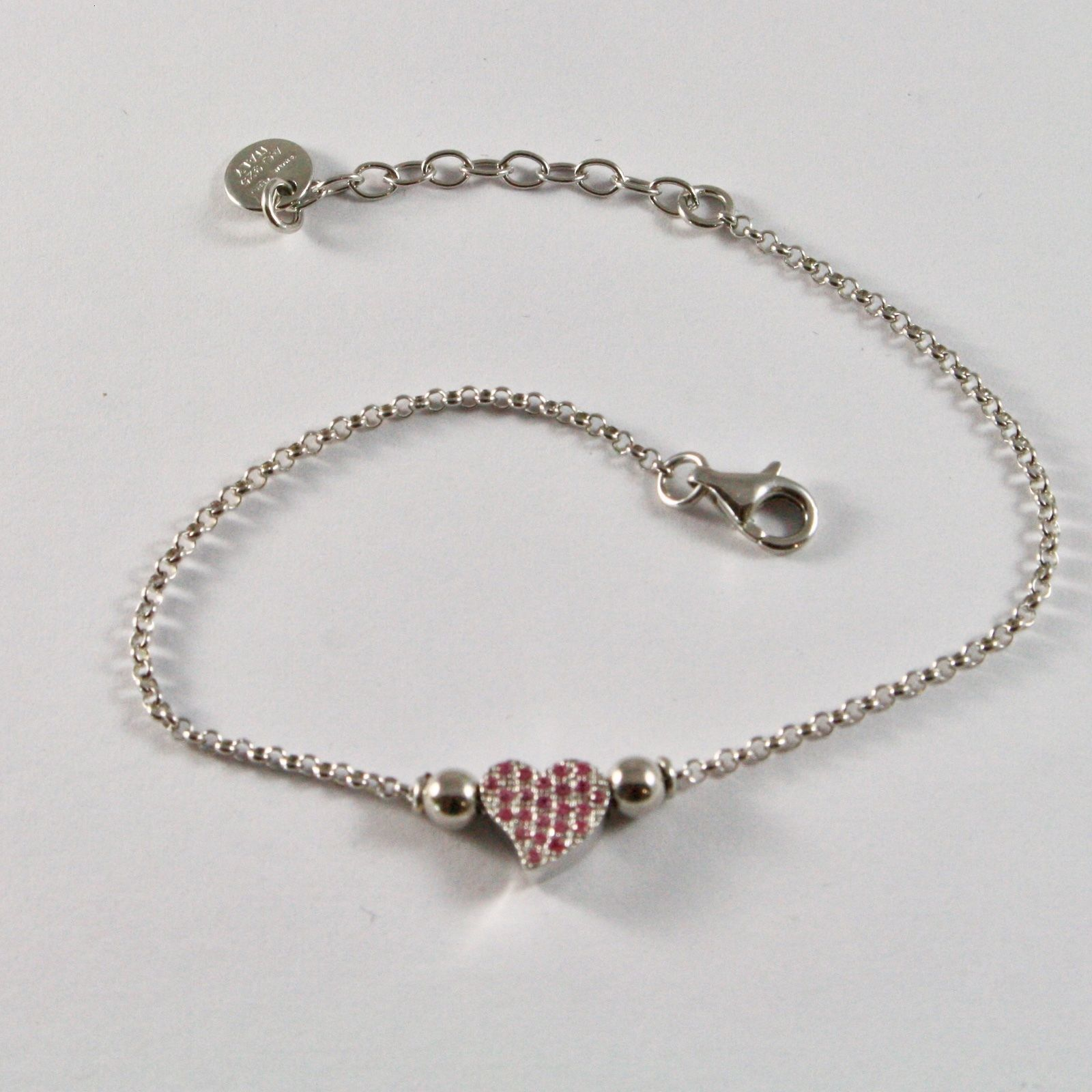 SILVER 925 BRACELET JACK&CO WITH HEART STYLIZED AND ZIRCONIA CUBIC JCB0858