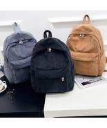 Corduroy Backpack Fashion Women School Backpack Pure Color Women Backpack Teenge - $29.00