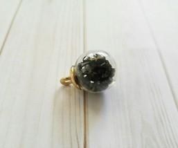 Glass Charm Pendant Glass Globe Black Glitter Glass Ball Pendant Crystal... - $1.00
