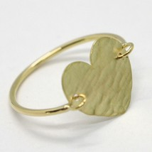 18K YELLOW GOLD FLAT HEART RING, FINELY WORKED, SATIN, HAMMERED, MADE IN ITALY image 1