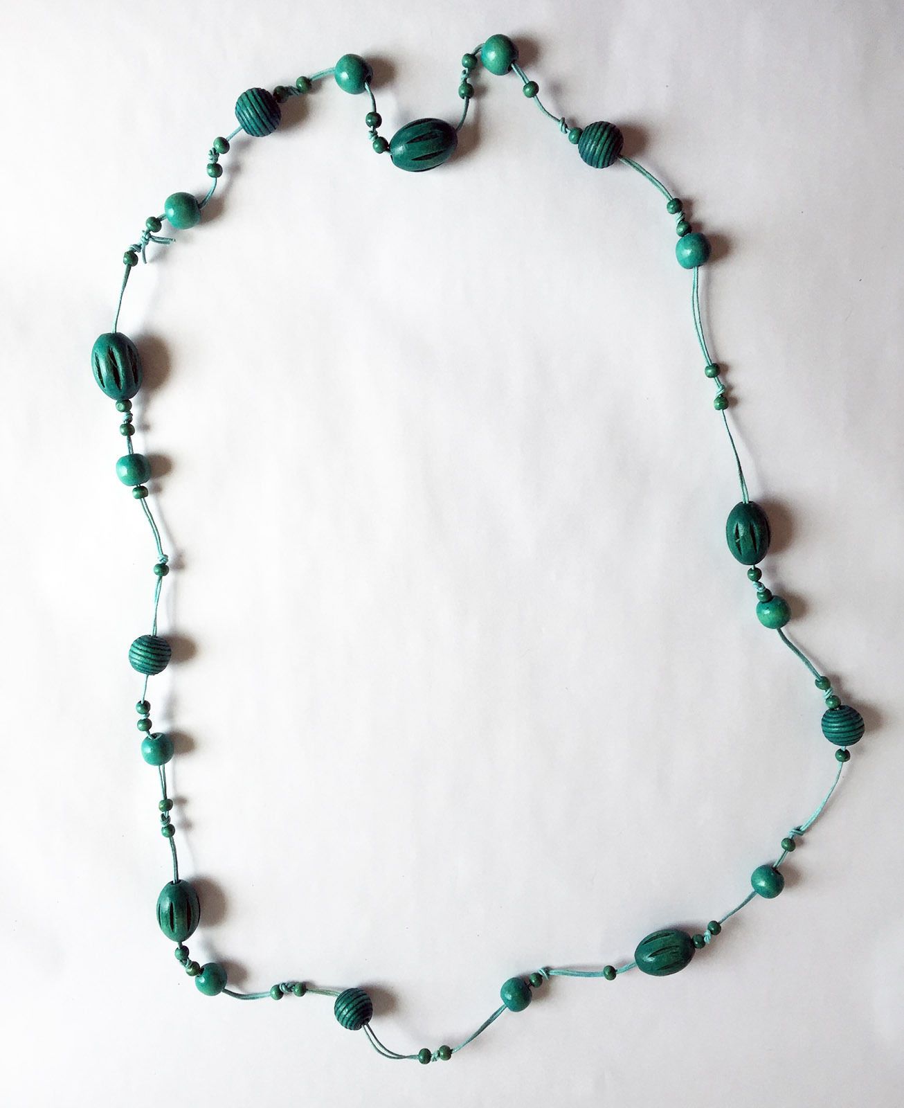 """Wood Bead and Cord Necklace Long 54"""""""