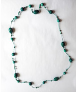 "Wood Bead and Cord Necklace Long 54"" - $5.00"
